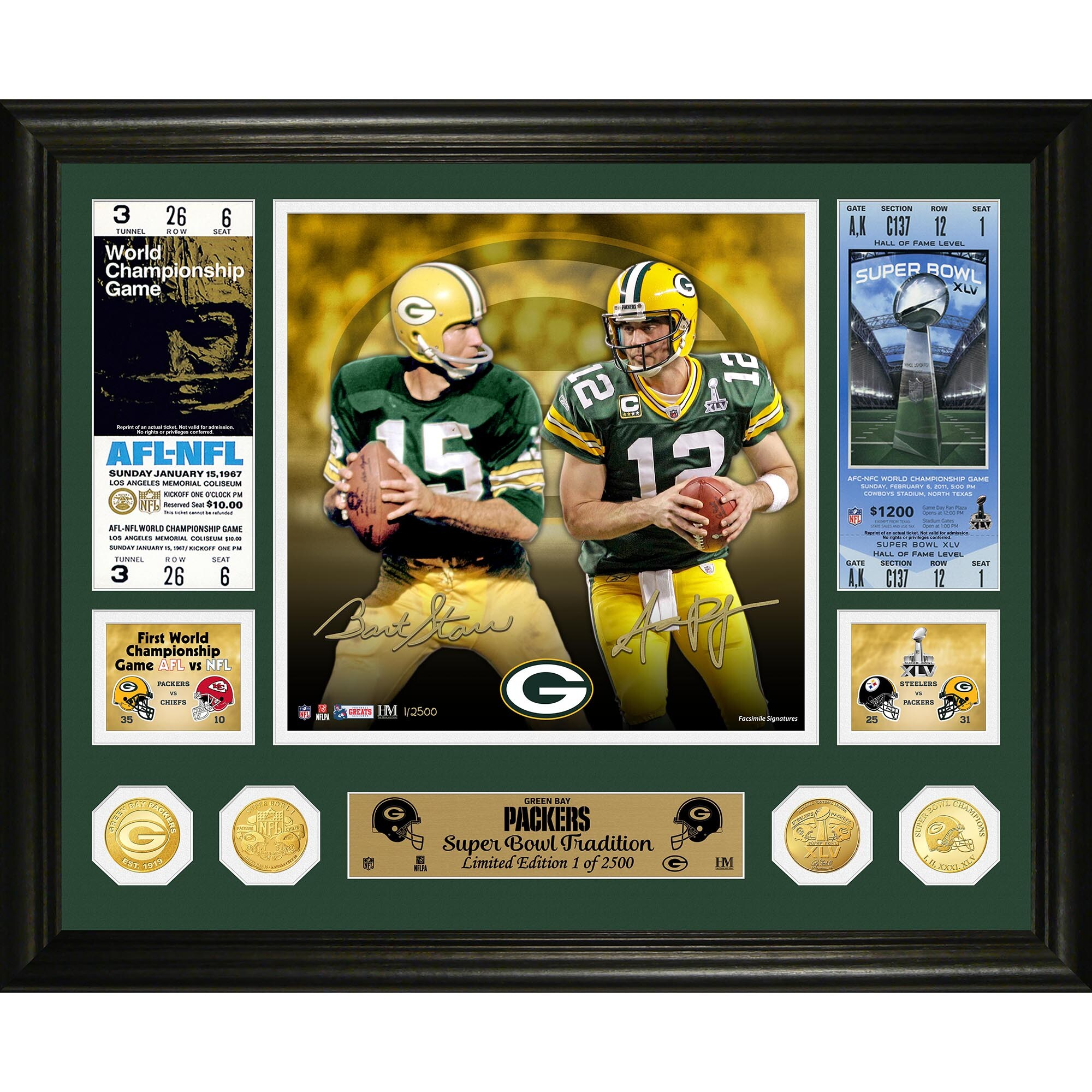 Bart Starr & Aaron Rodgers Green Bay Packers Highland Mint 16'' x 20'' Super Bowl Traditions Bronze Coin Photo Mint