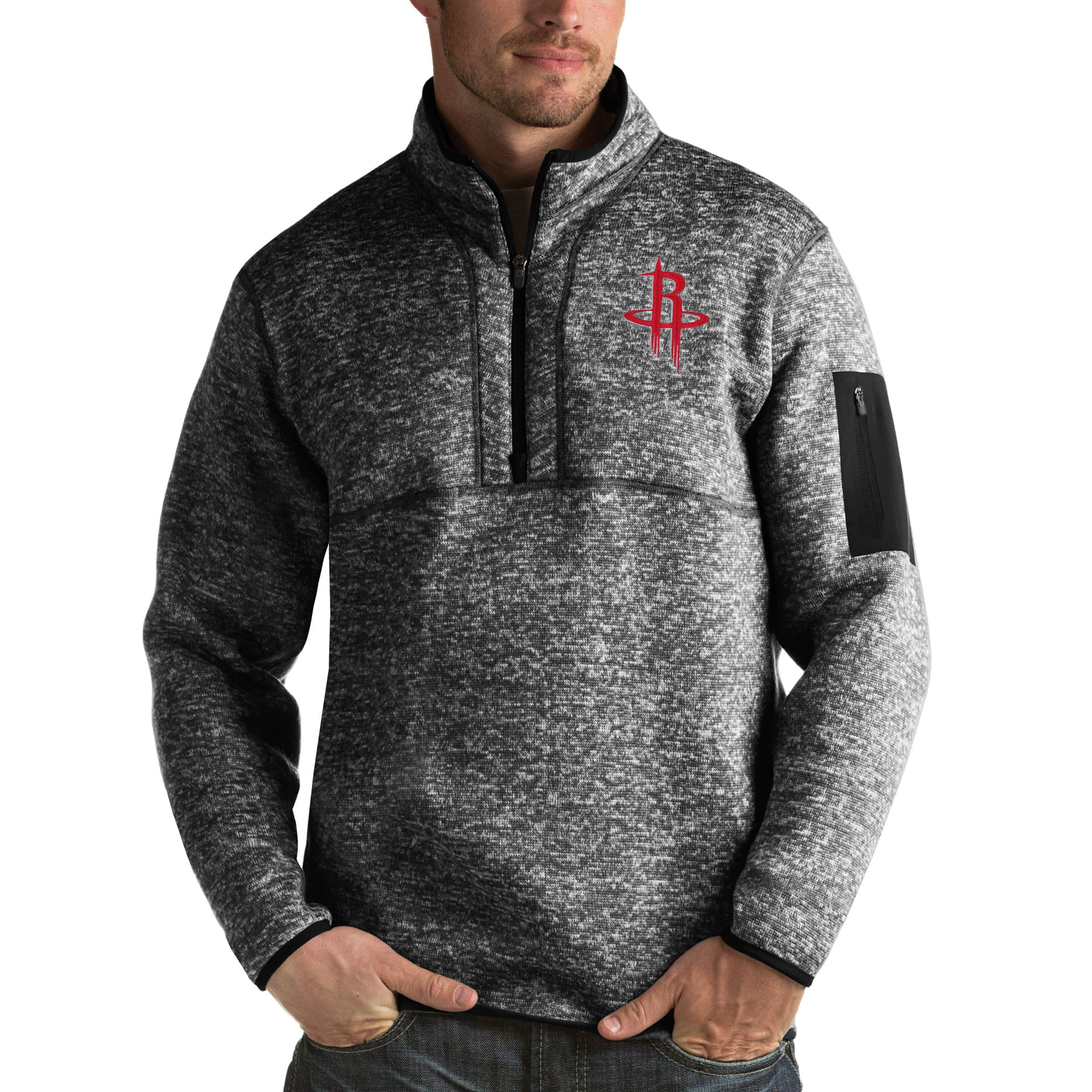 Houston Rockets Antigua Fortune Big & Tall Quarter-Zip Pullover Jacket - Heather Black