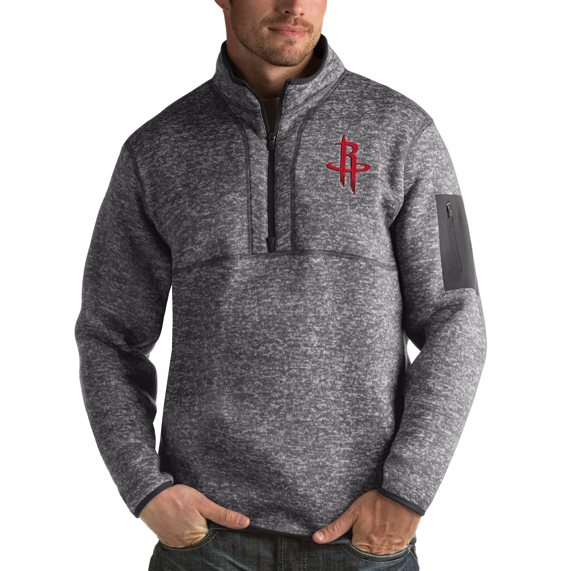 Houston Rockets Antigua Fortune Big & Tall Quarter-Zip Pullover Jacket - Charcoal