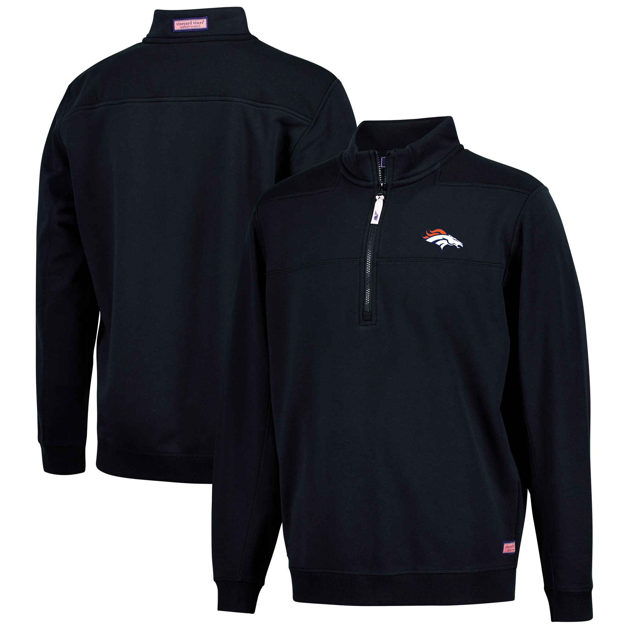Denver Broncos Vineyard Vines Collegiate Shep Shirt Quarter-Zip Pullover Jacket - Navy