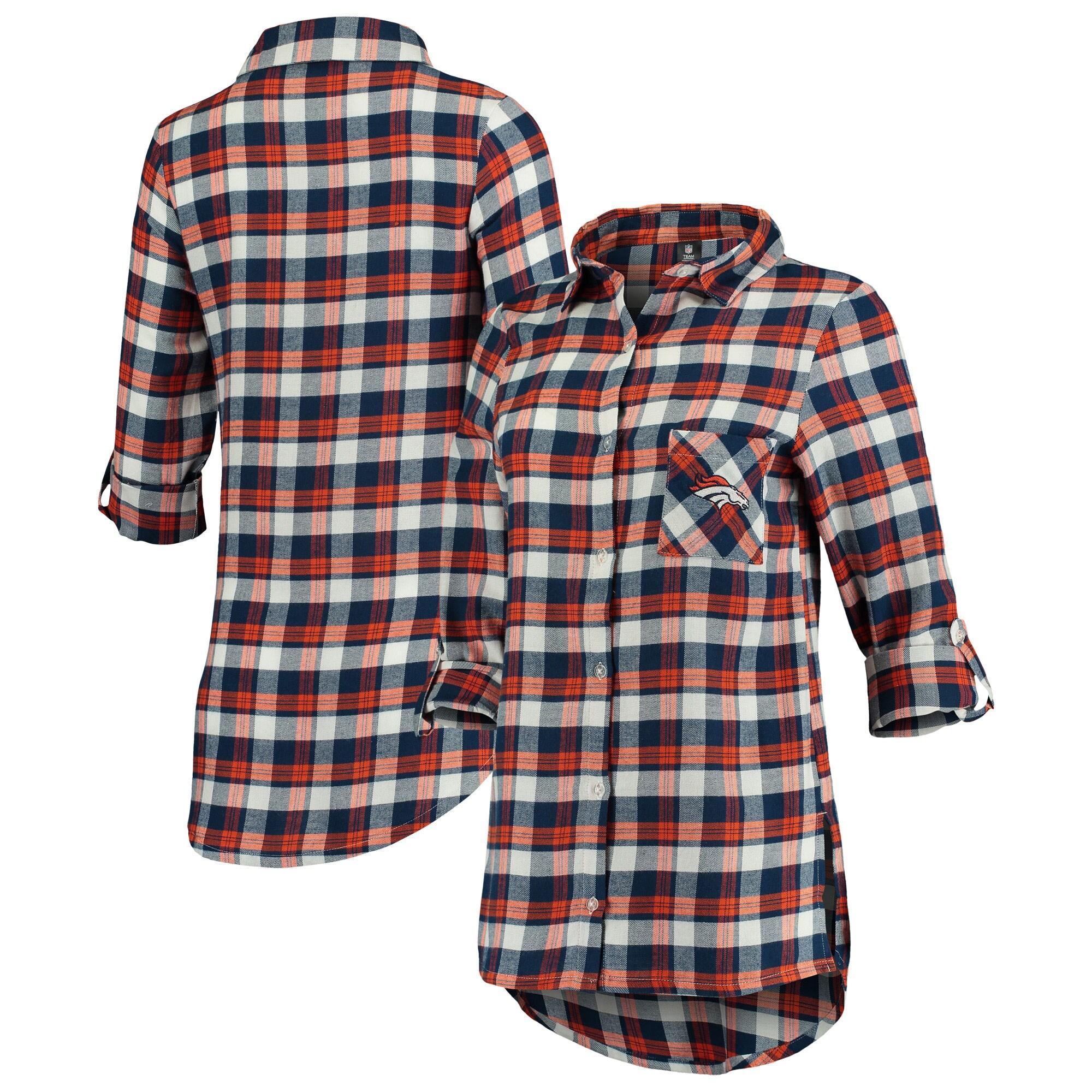 Denver Broncos Concepts Sport Women's Piedmont Flannel Button-Up Long Sleeve Shirt - Navy/Orange