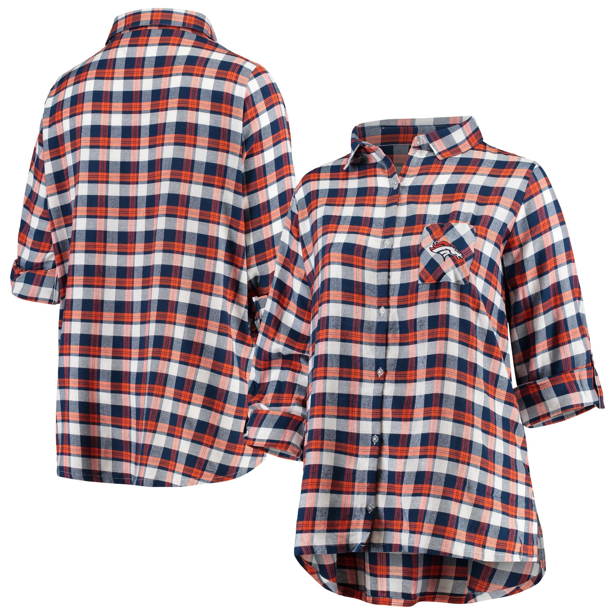 Denver Broncos Concepts Sport Women's Plus Size Piedmont Flannel Button-Up Long Sleeve Shirt - Navy/Orange