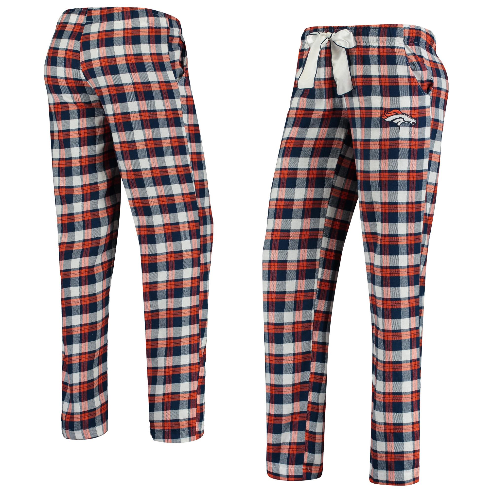 Denver Broncos Concepts Sport Women's Piedmont Flannel Sleep Pants - Navy/Orange