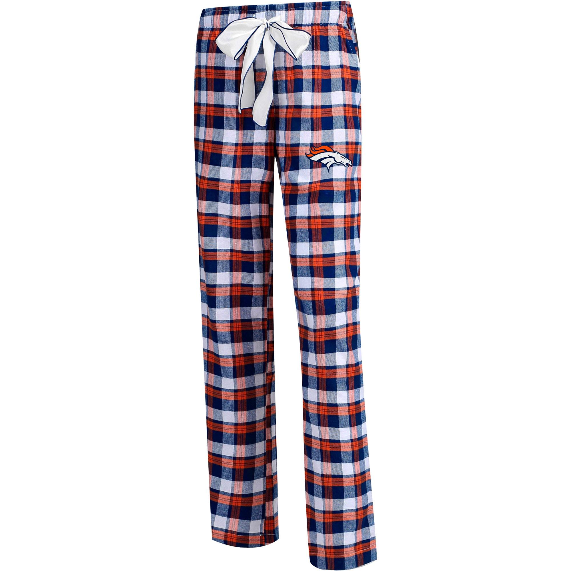 Denver Broncos Concepts Sport Women's Plus Size Piedmont Flannel Sleep Pants - Navy/Orange