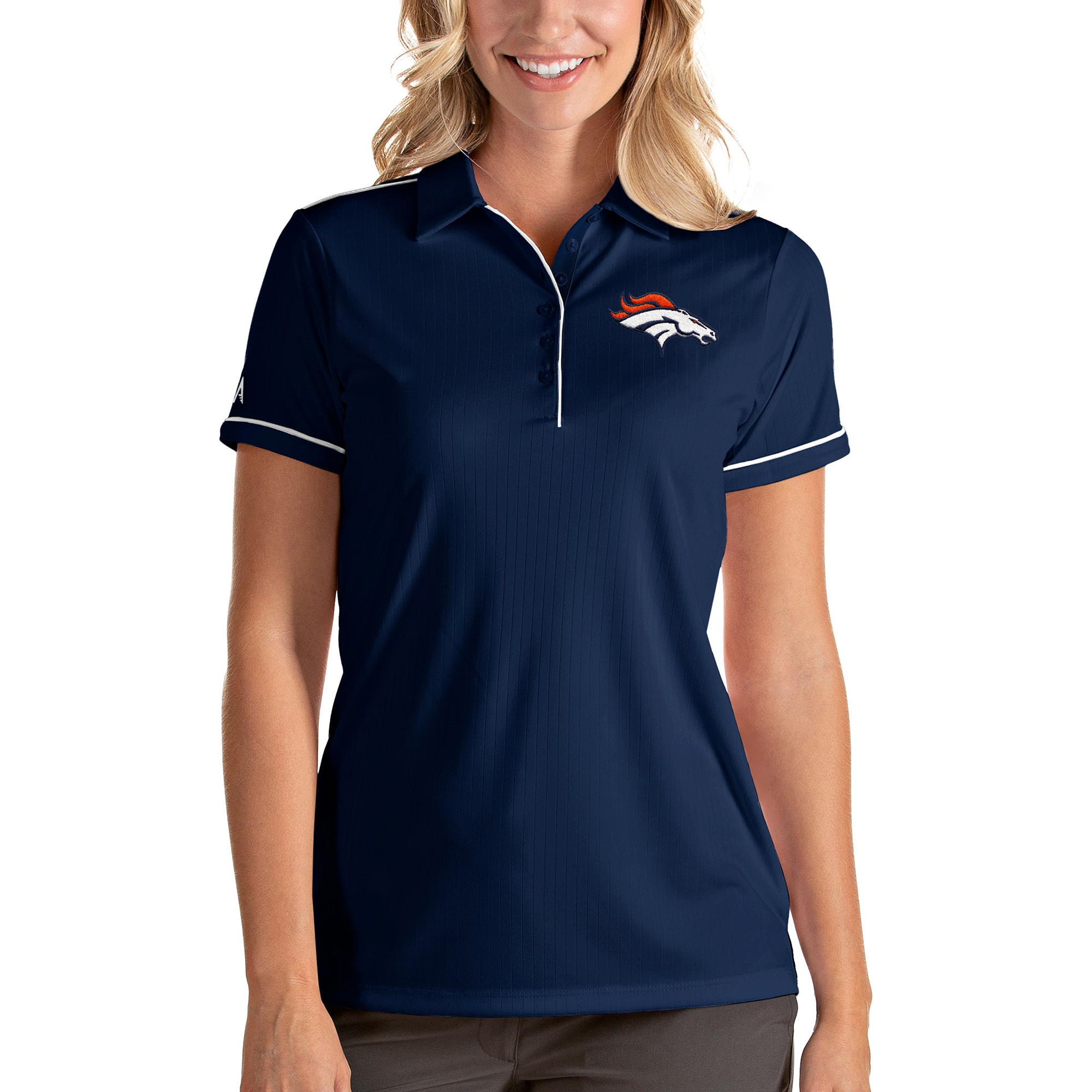 Denver Broncos Antigua Women's Salute Polo - Navy