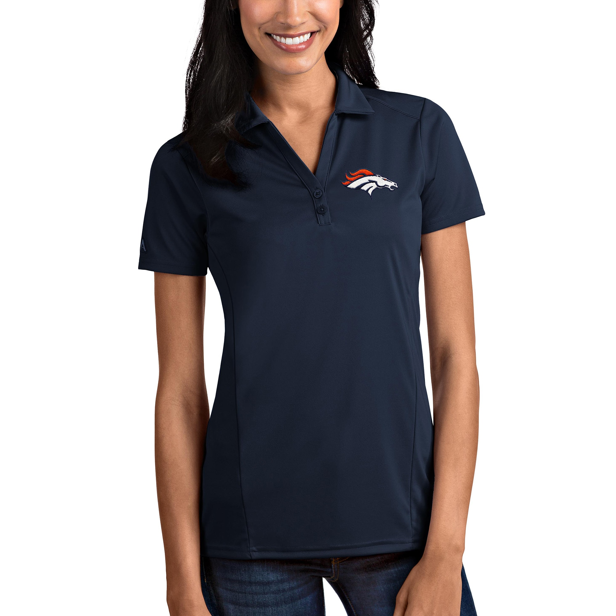 Denver Broncos Antigua Women's Tribute Polo - Navy