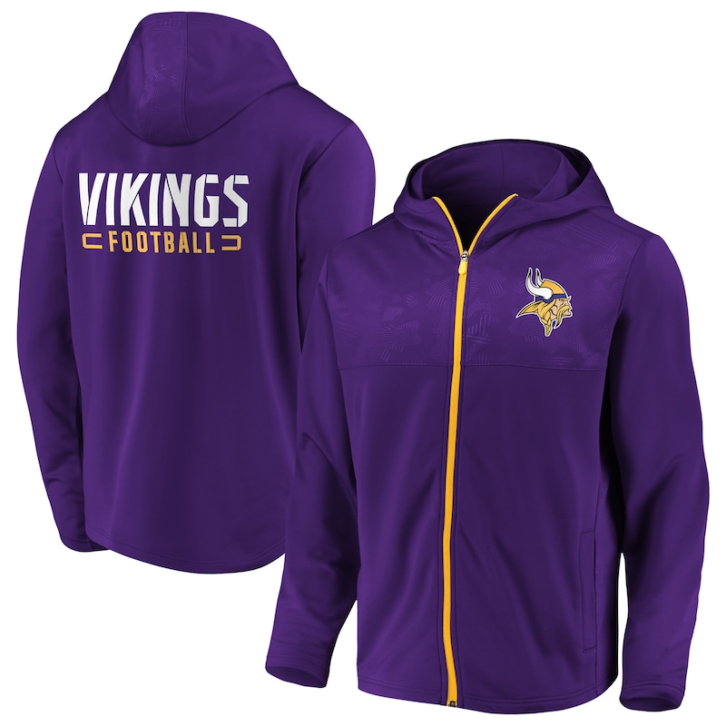Minnesota Vikings NFL Pro Line by Fanatics Branded Big & Tall Iconic Defender Mission Primary Full-Zip Hoodie - Purple