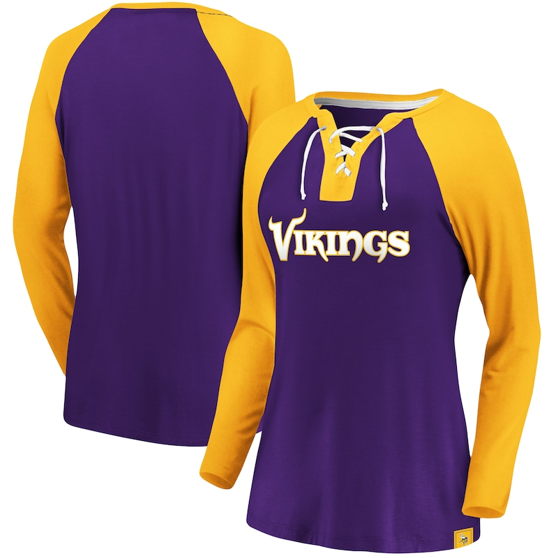 Minnesota Vikings Fanatics Branded Women's Plus Size Break Out Play Lace Up Raglan Long Sleeve T-Shirt - Purple/Gold