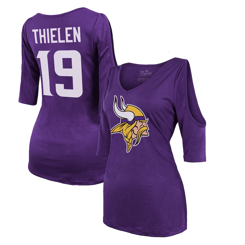 Adam Thielen Minnesota Vikings Majestic Threads Women's Player Name & Number Cold Shoulder Half-Sleeve V-Neck T-Shirt - Purple