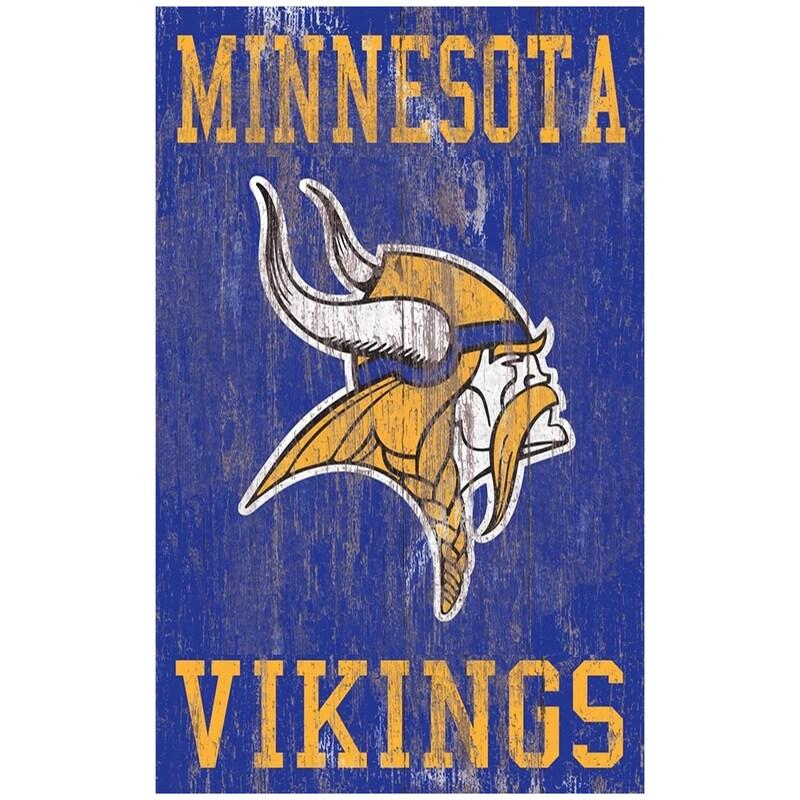 Minnesota Vikings 11'' x 19'' Heritage Distressed Logo Sign