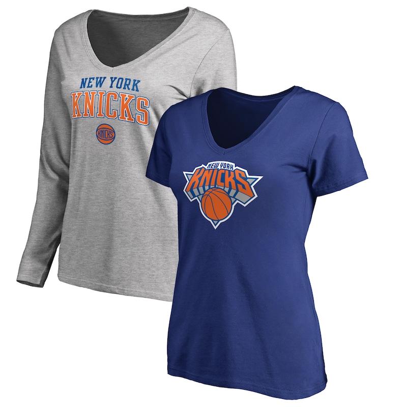 New York Knicks Fanatics Branded Women's Square V-Neck T-Shirt Combo Set - Blue/Gray