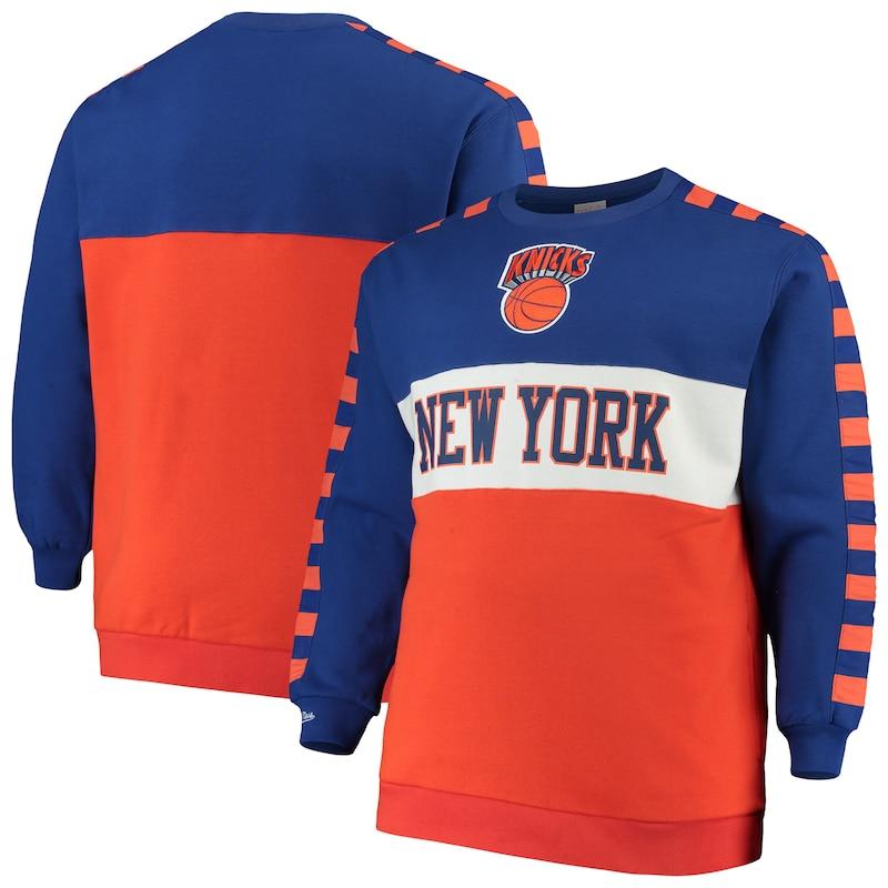 New York Knicks Mitchell & Ness Hardwood Classics Big & Tall Leading Scorer Fleece Pullover Sweatshirt - Blue/Orange