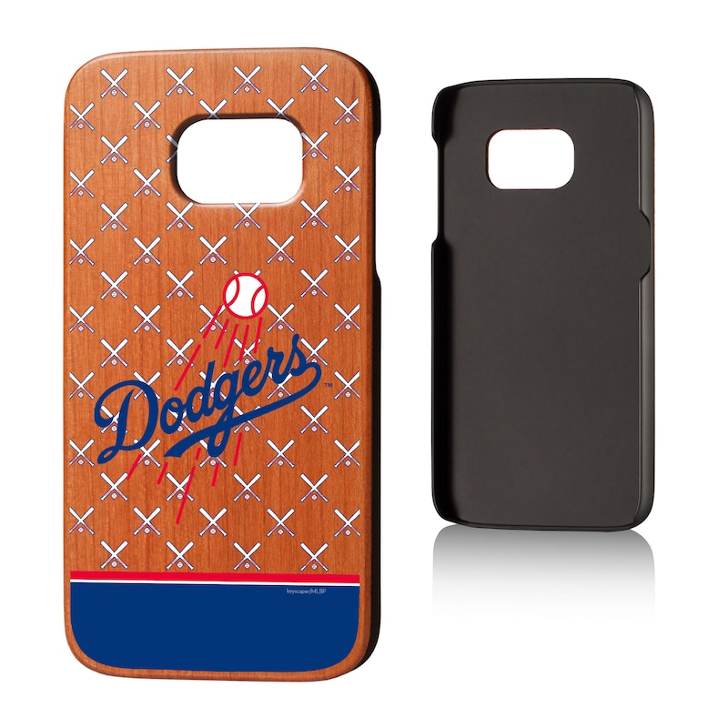 Los Angeles Dodgers Galaxy S7 Stripe Logo Cherry Wood Case