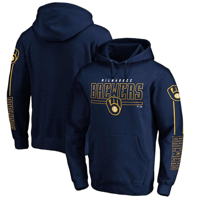 Milwaukee Brewers Fanatics Branded Team Front Line Pullover Hoodie - Navy