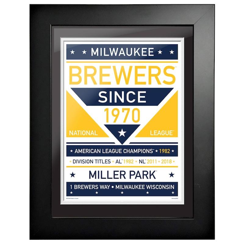 Milwaukee Brewers 12'' x 16'' Dual Tone Framed Wall Art