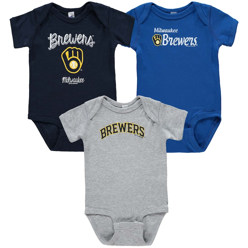 Milwaukee Brewers Soft as a Grape Infant 3-Pack Rookie Bodysuit Set - Navy/Gray/Royal