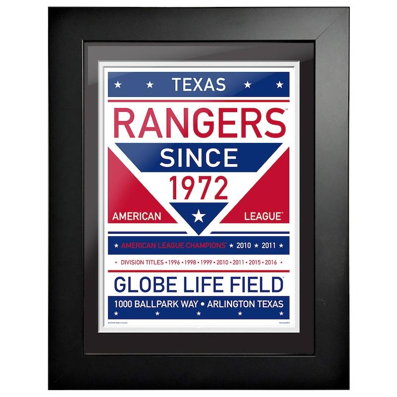 Texas Rangers 12'' x 16'' Dual Tone Framed Wall Art