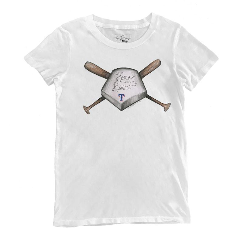 Texas Rangers Tiny Turnip Women's Home Is Where Your Heart Is T-Shirt - White