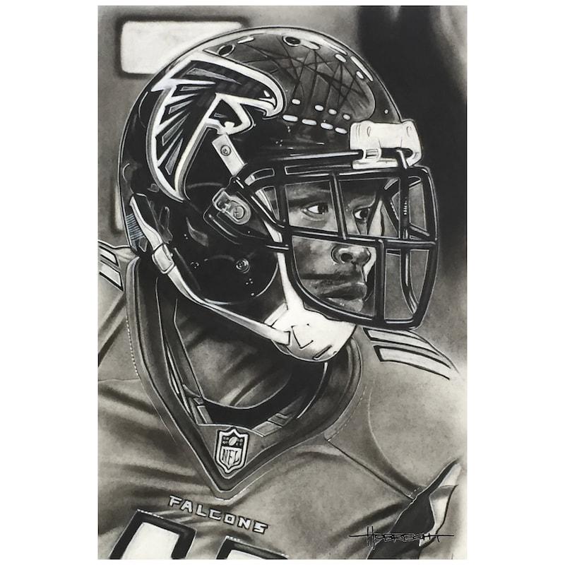 "Atlanta Falcons Deacon Jones Foundation 14"" x 9"" Helmet Series Fine Art Giclée Canvas"