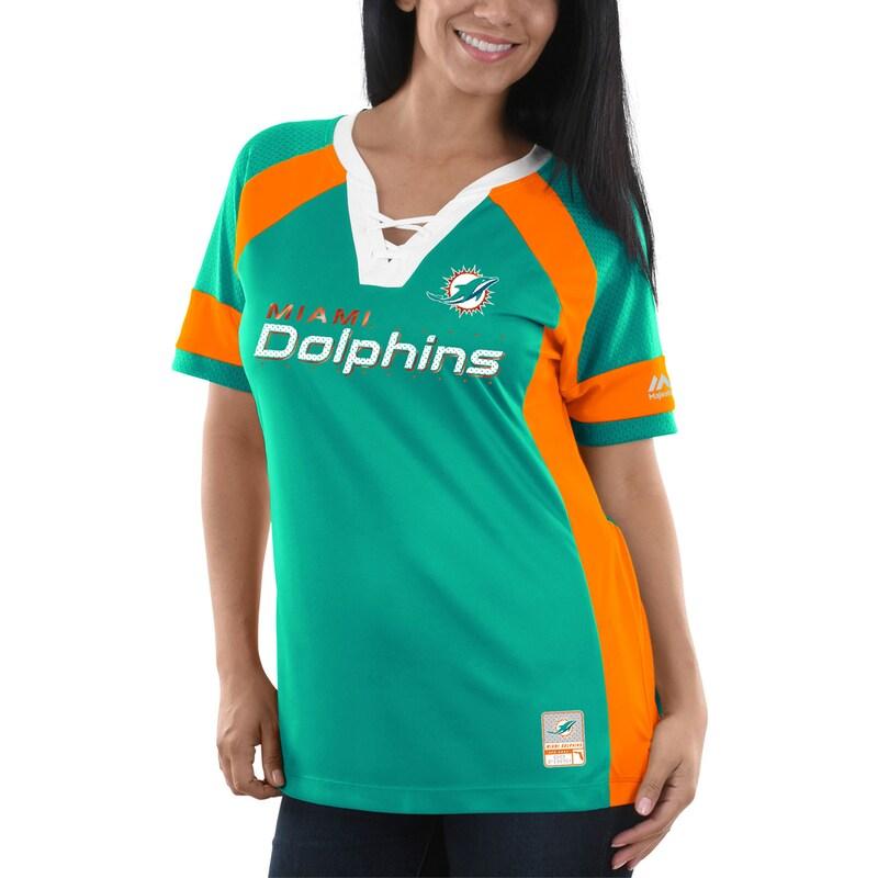 Miami Dolphins Majestic Women's Draft Me V-Neck T-Shirt - Aqua/Orange