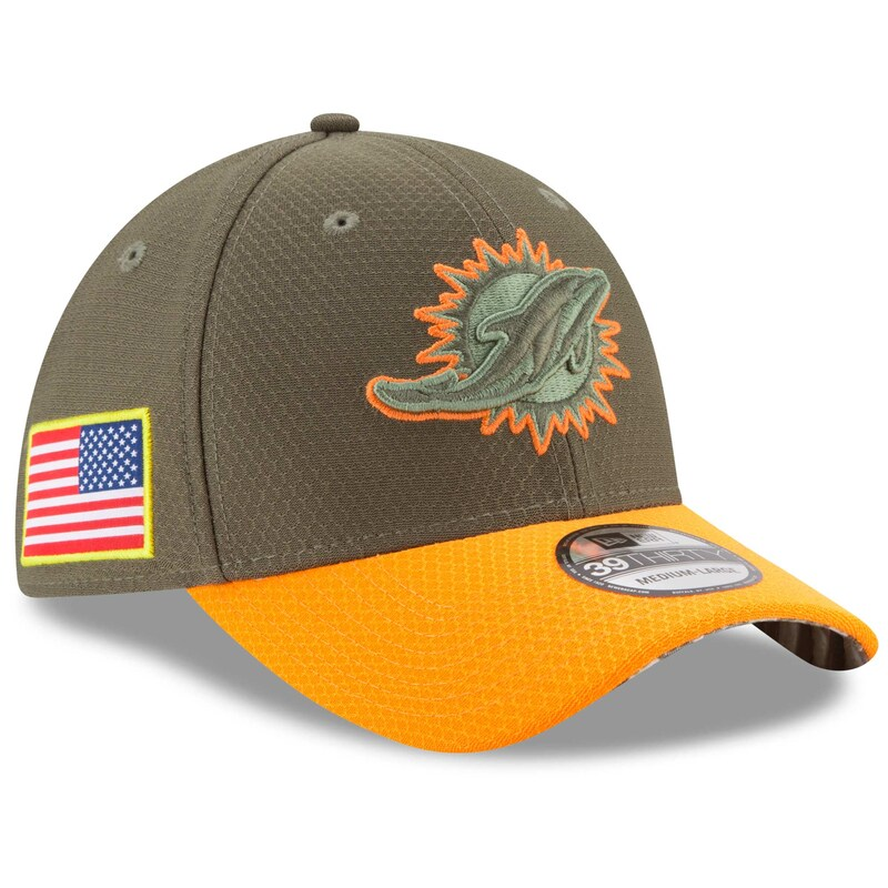 Miami Dolphins New Era Youth 2017 Salute To Service 39THIRTY Flex Hat - Olive