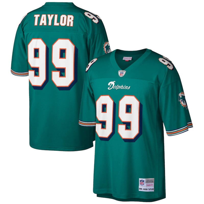 Jason Taylor Miami Dolphins Mitchell & Ness Retired Player Legacy Replica Jersey - Aqua