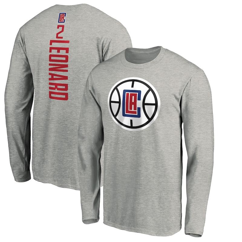 Kawhi Leonard LA Clippers Fanatics Branded Playmaker Name & Number Long Sleeve T-Shirt - Heathered Gray