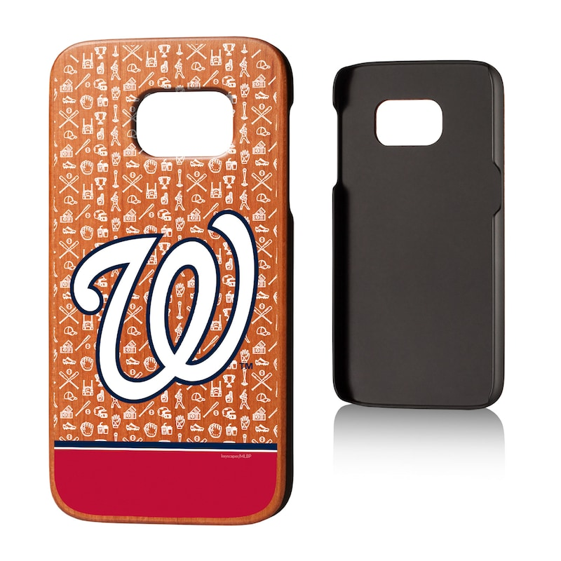 Washington Nationals Galaxy S7 Stripe Logo Cherry Wood Case