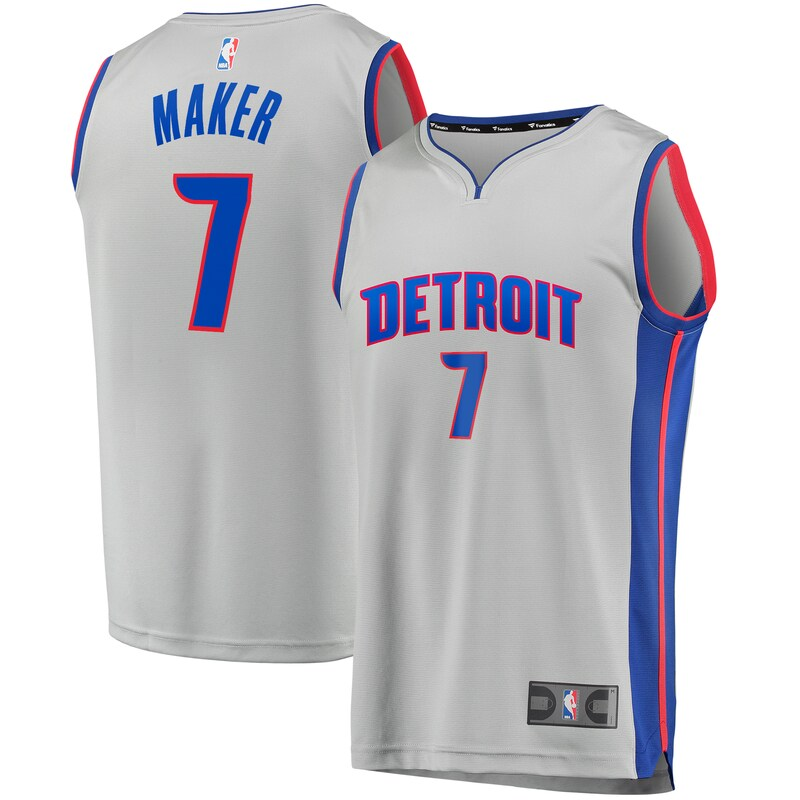 Thon Maker Detroit Pistons Fanatics Branded Youth Fast Break Replica Player Jersey - Statement Edition - Gray