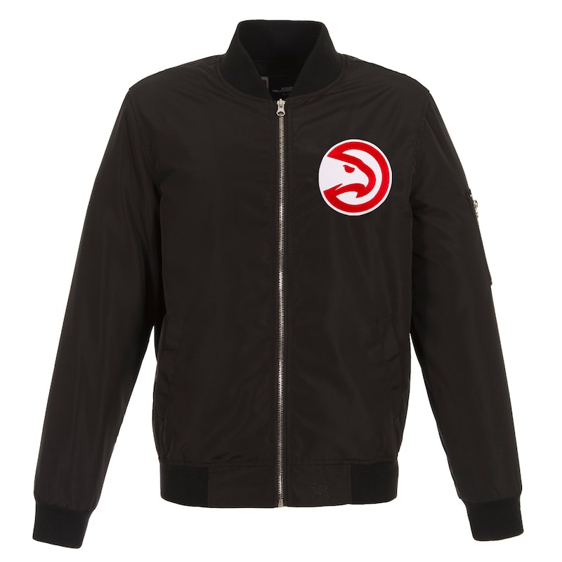 Atlanta Hawks JH Design Lightweight Nylon Full-Zip Bomber Jacket - Black