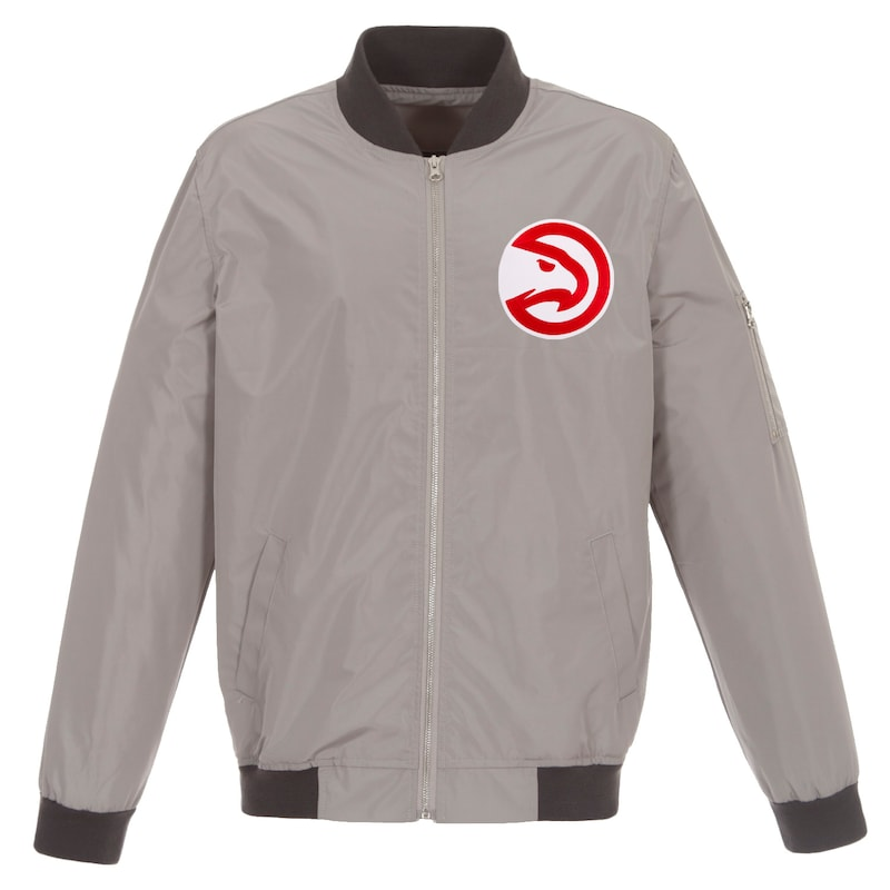 Atlanta Hawks JH Design Lightweight Nylon Full-Zip Bomber Jacket - Gray/Charcoal