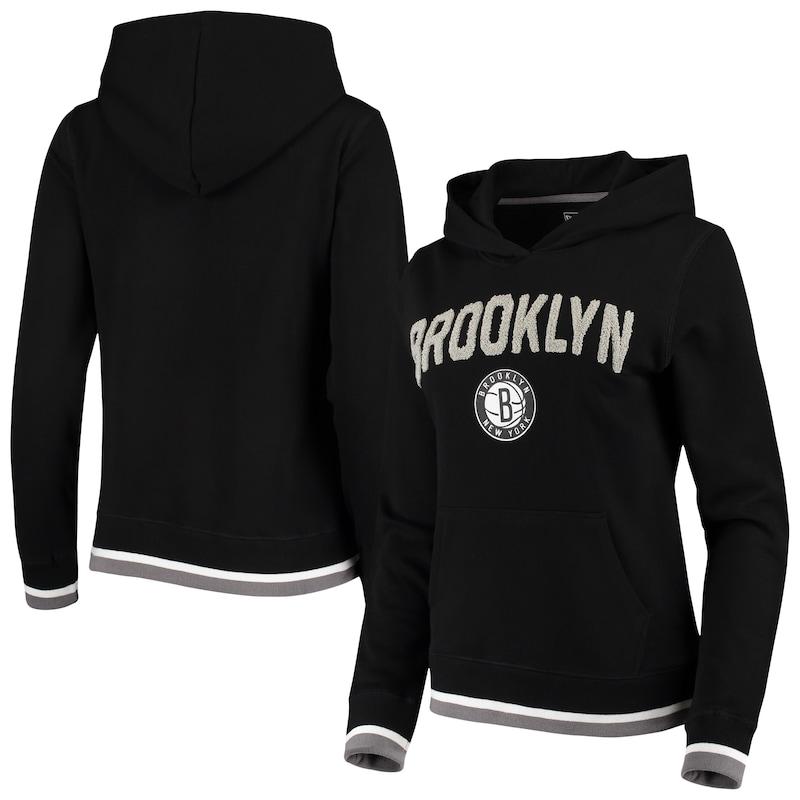 Brooklyn Nets New Era Women's Fleece Chenille Flocking Pullover Hoodie - Black