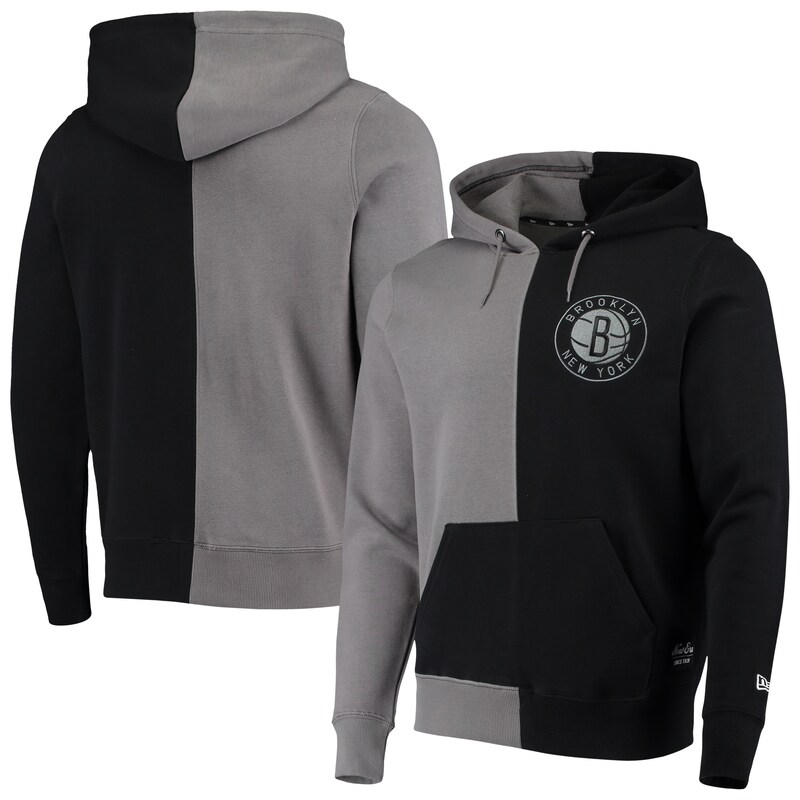 Brooklyn Nets New Era Diagonal French Terry Color Block Pullover Hoodie - Gray/Black