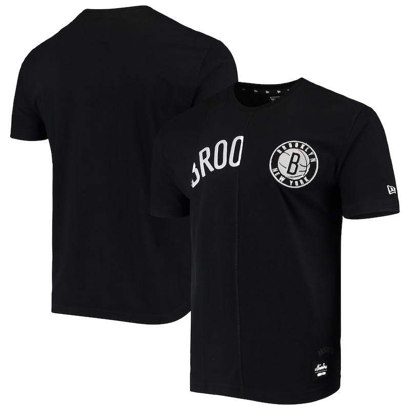 Brooklyn Nets New Era Wordmark Logo Cut & Sew Applique Brushed T-Shirt - Black