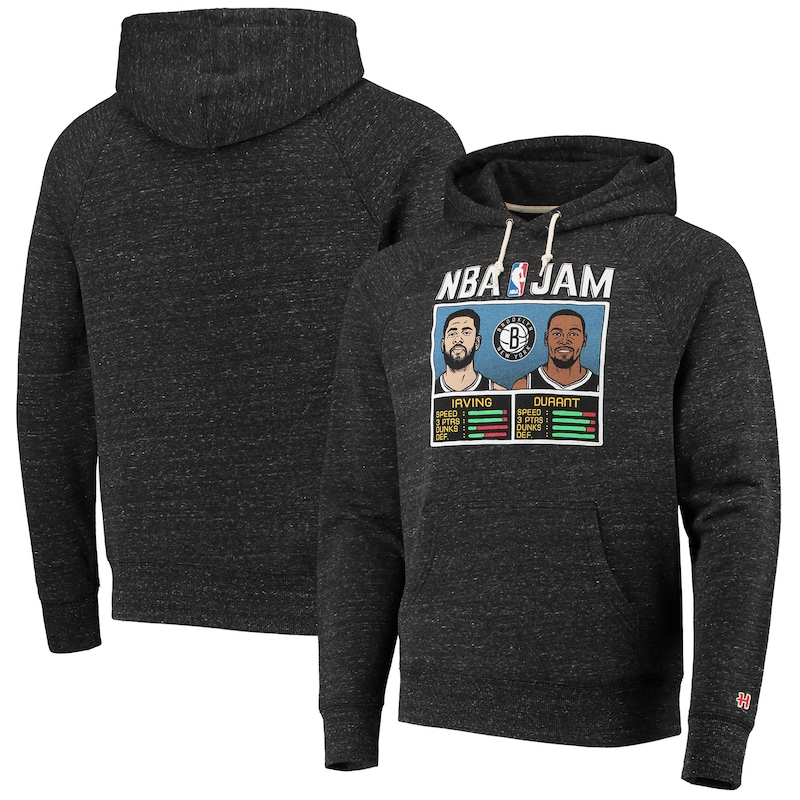 Kevin Durant/Kyrie Irving Brooklyn Nets Homage NBA Jam Tri-Blend Pullover Hoodie - Charcoal