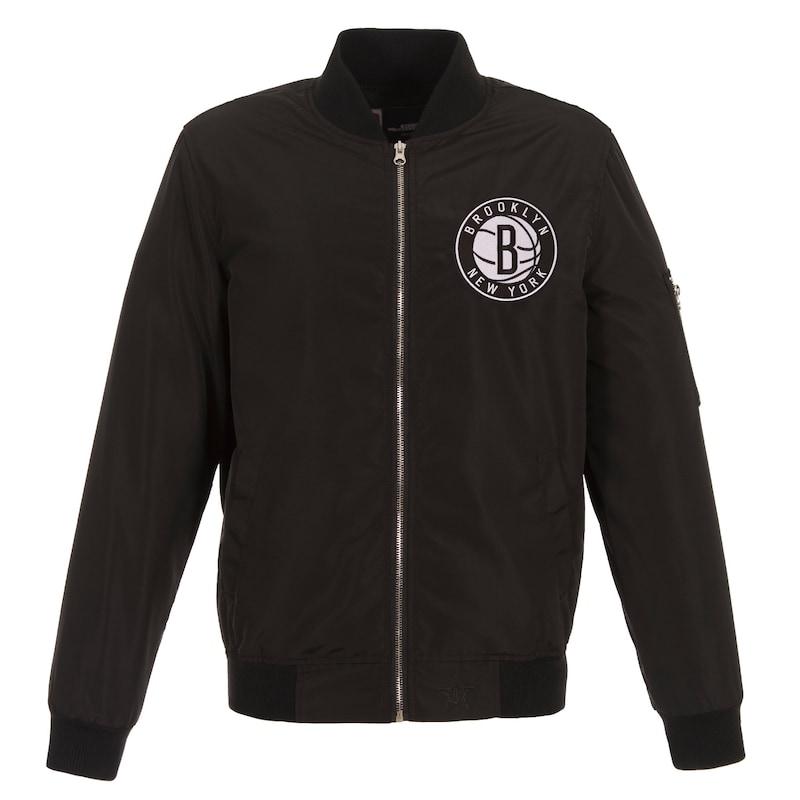 Brooklyn Nets JH Design Lightweight Nylon Full-Zip Bomber Jacket - Black
