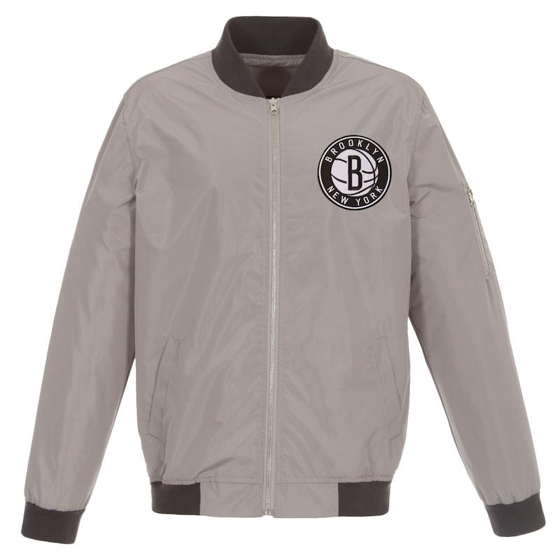 Brooklyn Nets JH Design Lightweight Nylon Full-Zip Bomber Jacket - Gray/Charcoal
