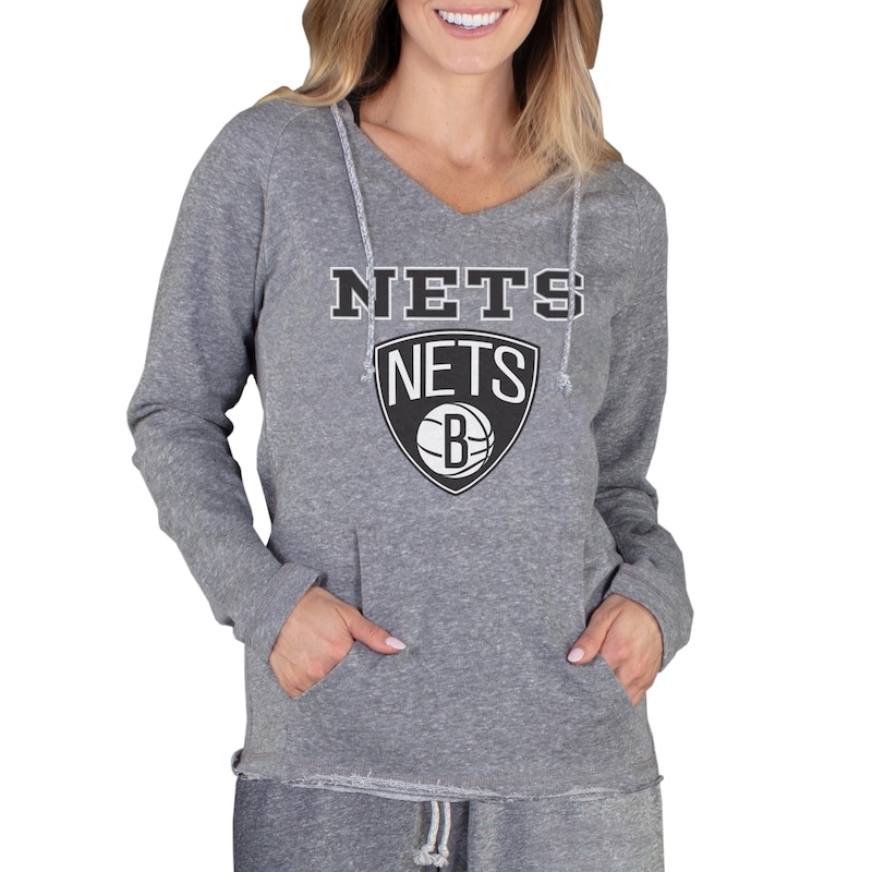 Brooklyn Nets Concepts Sport Women's Mainstream Terry Hooded Top - Gray