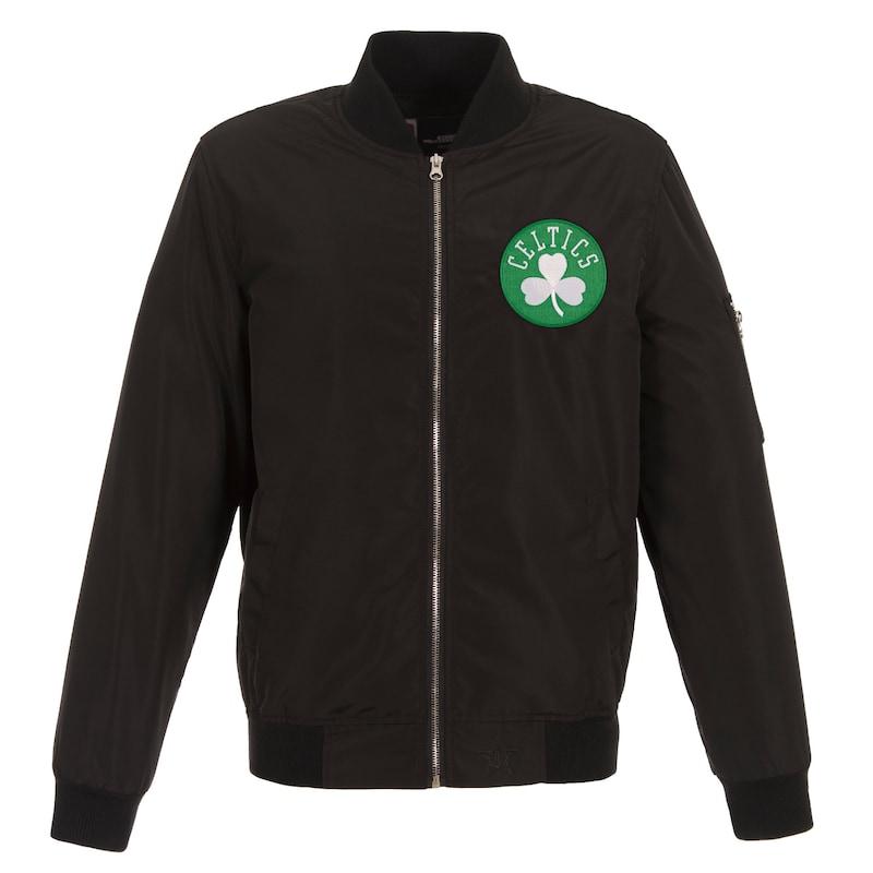Boston Celtics JH Design Lightweight Nylon Full-Zip Bomber Jacket - Black