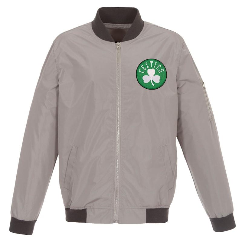 Boston Celtics JH Design Lightweight Nylon Full-Zip Bomber Jacket - Gray/Charcoal