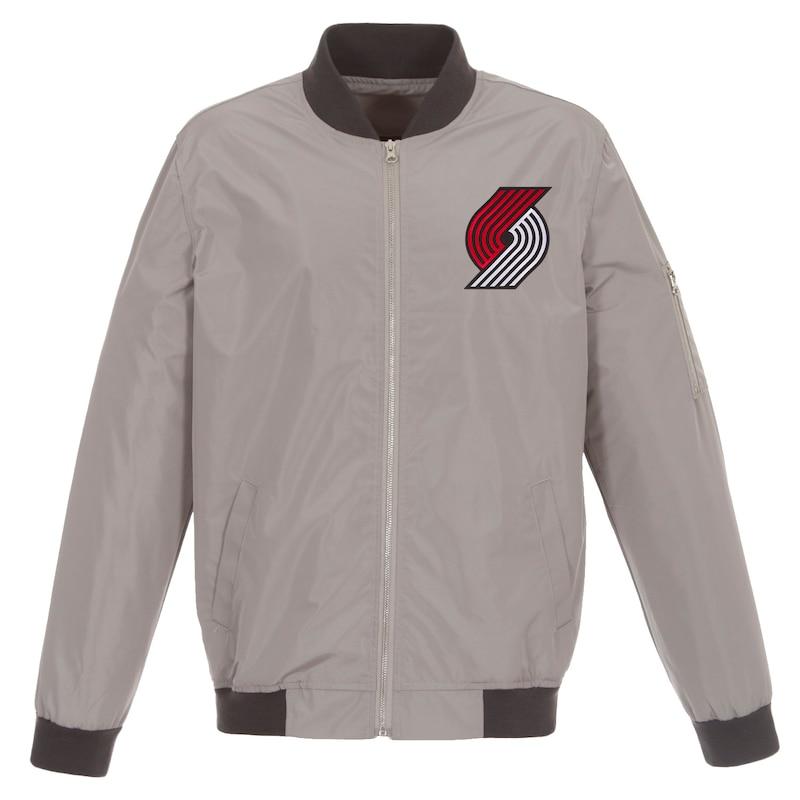 Portland Trail Blazers JH Design Lightweight Nylon Full-Zip Bomber Jacket - Gray/Charcoal