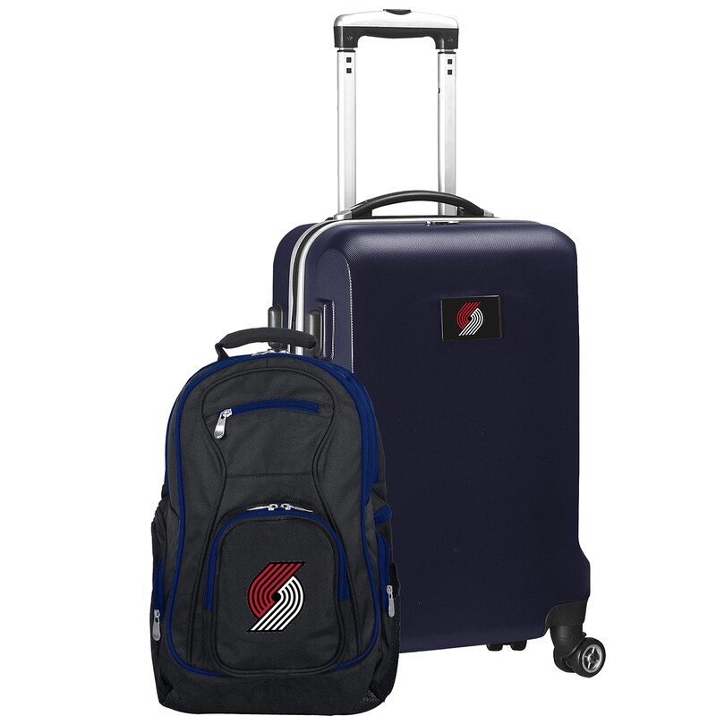 Portland Trail Blazers Deluxe 2-Piece Backpack and Carry-On Set - Navy
