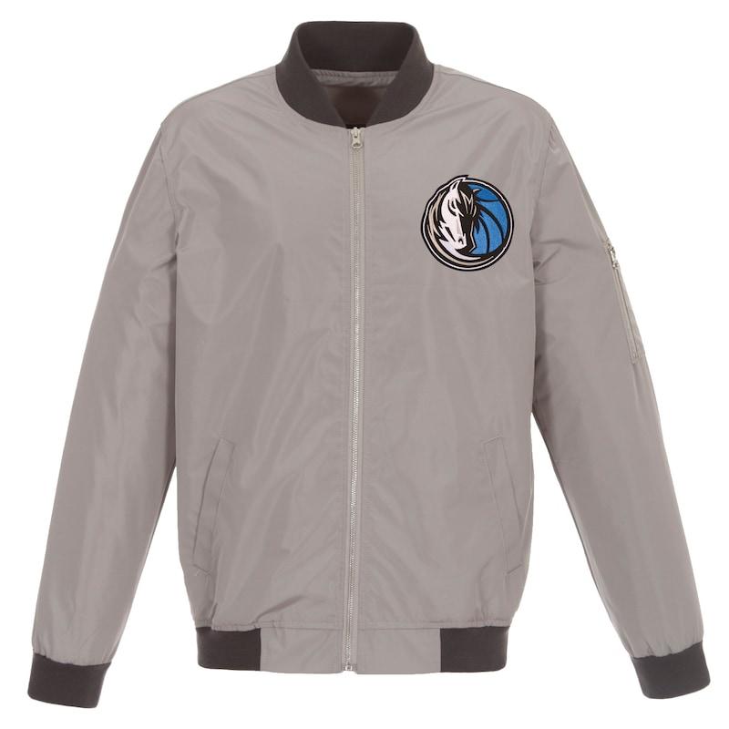 Dallas Mavericks JH Design Lightweight Nylon Full-Zip Bomber Jacket - Gray/Charcoal