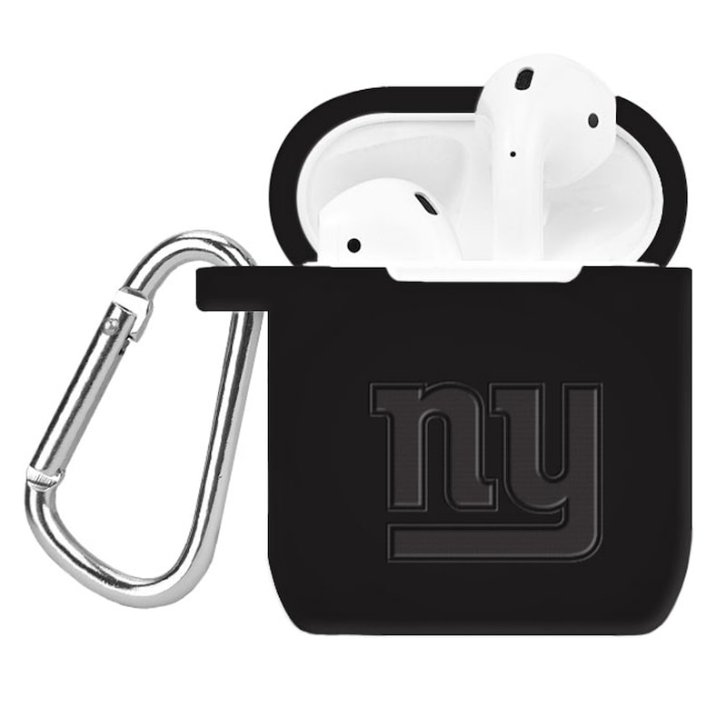 New York Giants Debossed Silicone Air Pods Case Cover - Black