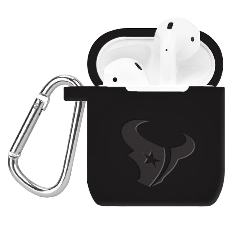 Houston Texans Debossed Silicone Air Pods Case Cover - Black