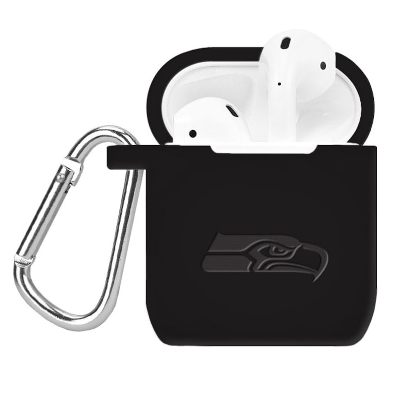 Seattle Seahawks Debossed Silicone Air Pods Case Cover - Black