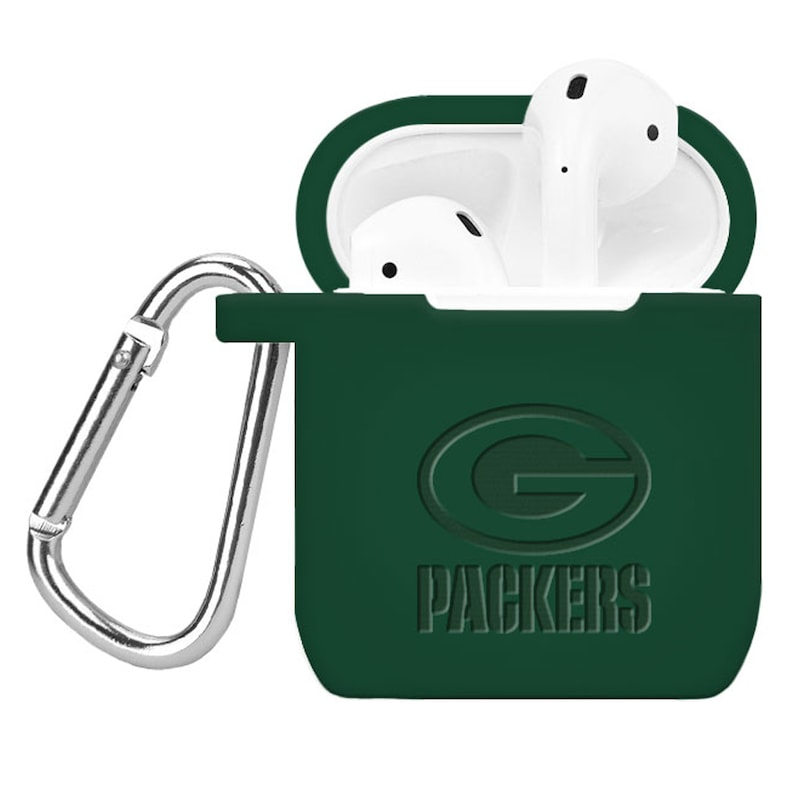 Green Bay Packers Debossed Silicone Air Pods Case Cover - Green