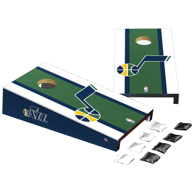 Utah Jazz Stripe Design Desktop Cornhole Game Set