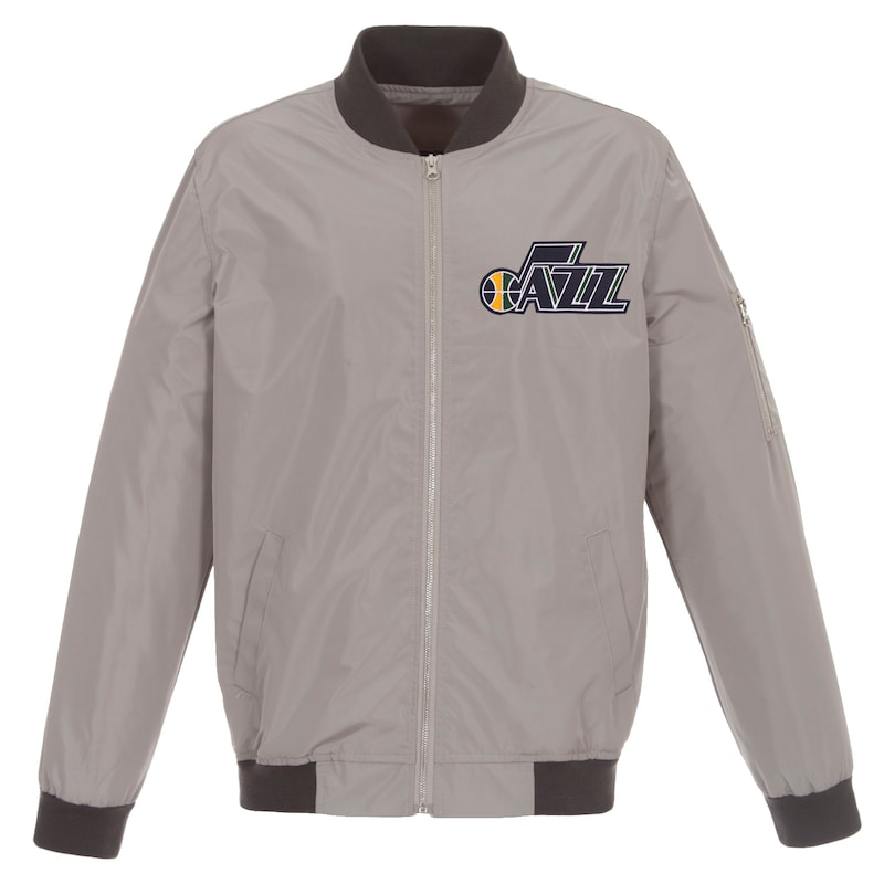Utah Jazz JH Design Lightweight Nylon Full-Zip Bomber Jacket - Gray/Charcoal