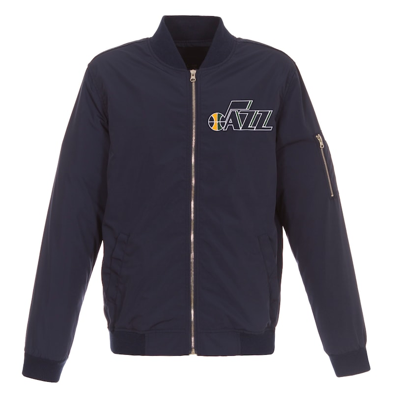 Utah Jazz JH Design Lightweight Nylon Full-Zip Bomber Jacket - Navy